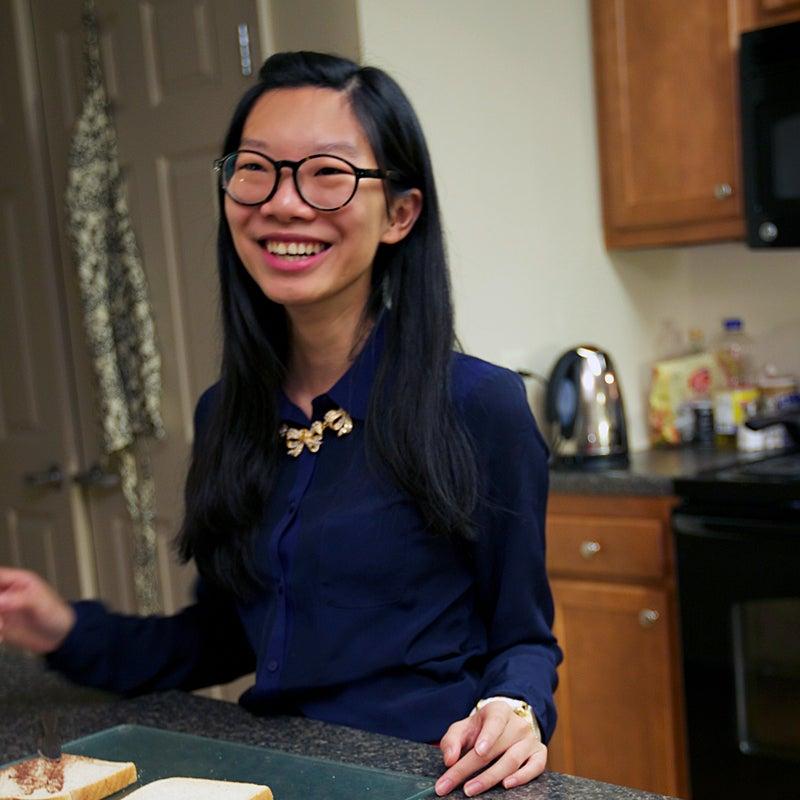 Student in off-campus apartment